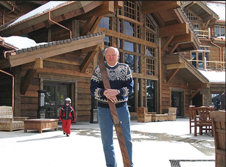 Warren in front of the Warren Miller Lodge