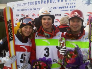 Kristi Richards, Mikael Kingsbury and Pierre-Alexandre Rousseau in China