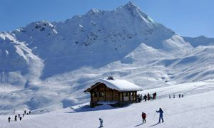 Skiing on the alpine slopes near Chamonix